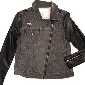 Black Denim & Leather Moto Side Zip Jacket